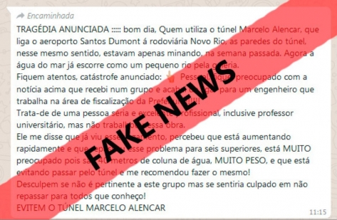 Fake News sobre Túnel Marcello Alencar